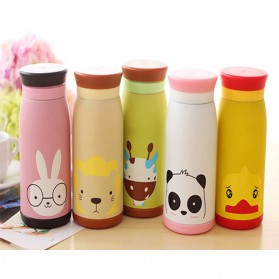 Colourful Cute Cartoon Thermos Insulated Mik Water Bottle 500ml - White - 10