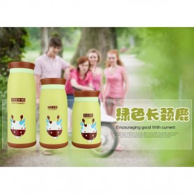 Colourful Cute Cartoon Thermos Insulated Mik Water Bottle 500ml - Green - 3
