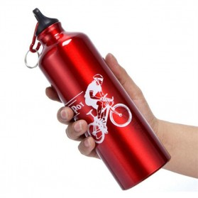 TaffSport Botol Minum Olahraga Aluminium 750ml Dengan Karabiner - H2GO - Blue - 7