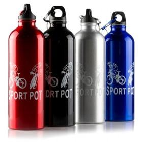 TaffSport Botol Minum Olahraga Aluminium 750ml Dengan Karabiner - H2GO - Blue - 8