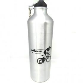 TaffSport Botol Minum Olahraga Aluminium 750ml Dengan Karabiner - H2GO - Blue - 11