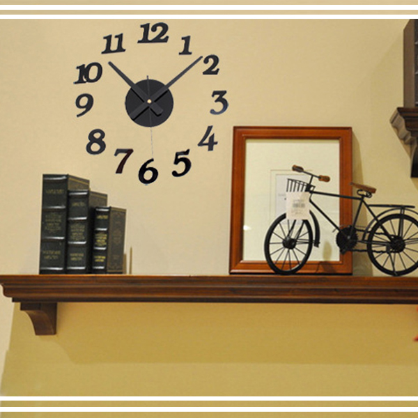 ... DIY Wall Clock 30-50cm Diameter - ELET00666   Jam Dinding - Black - 4  ... 5e95739e53