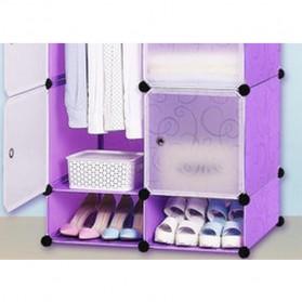 TaffHOME Lemari Baju Plastik DIY 6 Pintu - LBXJ019 - Purple - 3