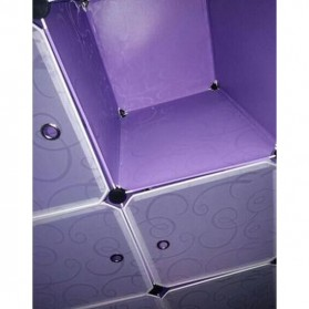 TaffHOME Lemari Baju Plastik DIY 6 Pintu - LBXJ019 - Black - 4