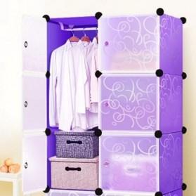 TaffHOME Lemari Baju Plastik DIY 6 Pintu - LBXJ019 - Black - 6