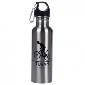 Botol Minum Olahraga Aluminium 400ml Dengan Karabiner - Silver