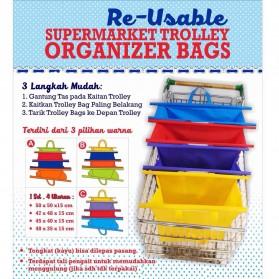 Supermarket Trolley Organizer Shopping Bag 4 Pcs / Keranjang Belanja - Multi-Color - 3