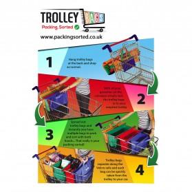 Supermarket Trolley Organizer Shopping Bag 4 Pcs / Keranjang Belanja - Multi-Color - 4