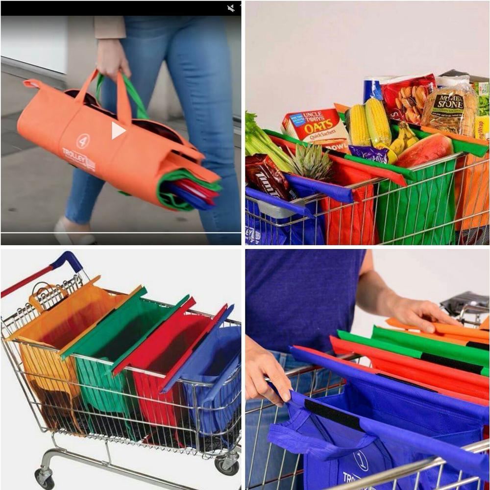 ... Supermarket Trolley Organizer Shopping Bag 4 Pcs   Keranjang Belanja -  Multi-Color - 6 ... 66f6490c2e