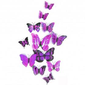 Stiker Hias Dinding Kupu-Kupu 12 Pcs - Purple - 2