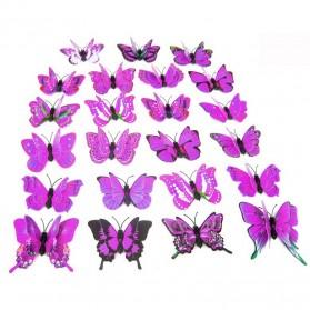 Stiker Hias Dinding Kupu-Kupu 12 Pcs - Purple - 3