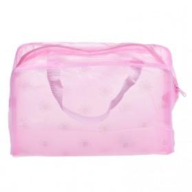 Tas Perlengkapan Mandi dan Kosmetik Transparant Motif Floral - Pink