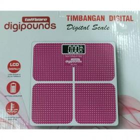 Taffware Digipounds Timbangan Badan Kaca Elektronik 180KG - SC-05 - Pink - 8