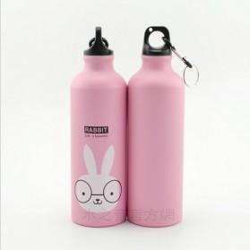 Botol Minum Kartun 500ml dengan Karabiner - Pink - 2