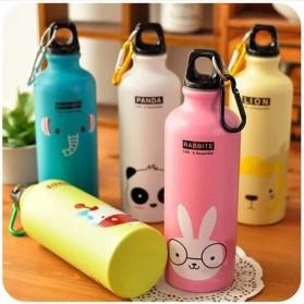 Botol Minum Kartun 500ml dengan Karabiner - Pink - 8