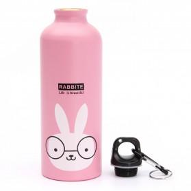 Botol Minum Kartun 500ml dengan Karabiner - Cream - 14