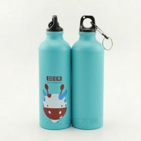 Botol Minum Kartun 500ml dengan Karabiner - Light Blue - 2