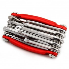 KNIFEZER Obeng Set Swiss Army EDC 11 in 1 - T25 - Red - 3