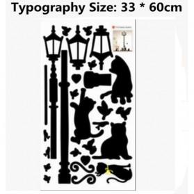 Stiker Hiasan Dinding Popular Ancient Lamp Cats and Birds - Black - 2