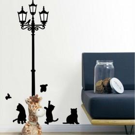 Stiker Hiasan Dinding Popular Ancient Lamp Cats and Birds - Black - 3