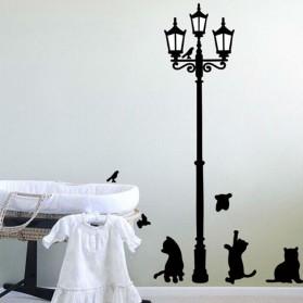 Stiker Hiasan Dinding Popular Ancient Lamp Cats and Birds - Black - 4