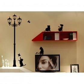 Stiker Hiasan Dinding Popular Ancient Lamp Cats and Birds - Black - 5