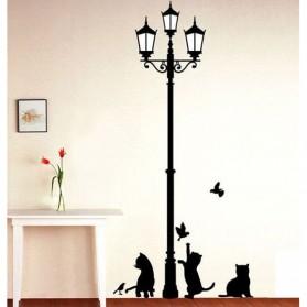 Stiker Hiasan Dinding Popular Ancient Lamp Cats and Birds - Black - 6