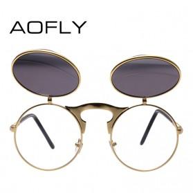 AOFLY Kacamata Hitam Round Vintage Steampunk Sunglasses - Black/Black - 2