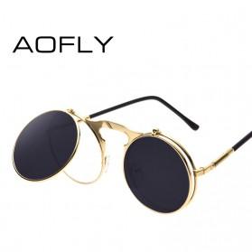 AOFLY Kacamata Hitam Round Vintage Steampunk Sunglasses - Black/Black - 3