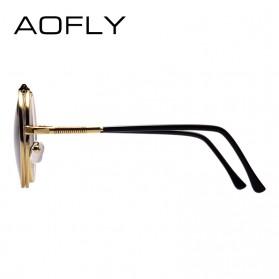 AOFLY Kacamata Hitam Round Vintage Steampunk Sunglasses - Black/Black - 4