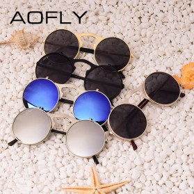 AOFLY Kacamata Hitam Round Vintage Steampunk Sunglasses - Black/Black - 6