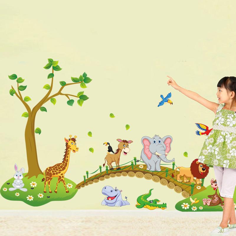 ... Sticker Dinding DIY Wallpaper Kids Cartoon Animal - Multi-Color - 2 ...