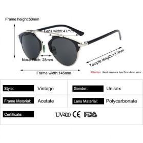 Maxglasiz Kacamata Hitam Vintage Sunglasses untuk Pria & Wanita - Black - 6