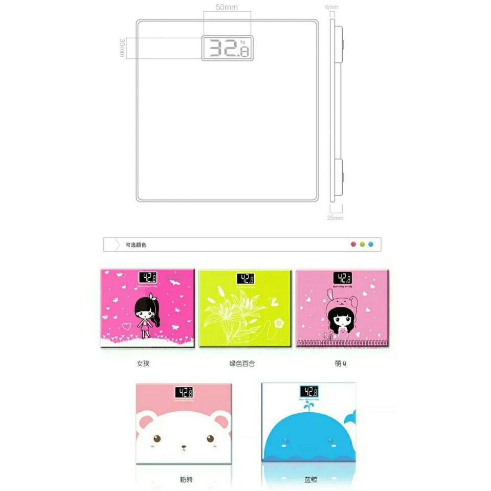 Timbangan Badan Kaca Elektronik 180KG Universal  : timbangan badan mini desain kartun 180kg white or pink 4 from www.hargapass.com size 960 x 960 jpeg 67kB