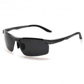 Aoron Kacamata Hitam Polarized Magnesium Sunglasses untuk Pria & Wanita - 2102 - Black/Black - 3