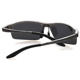 Aoron Kacamata Hitam Polarized Magnesium Sunglasses untuk Pria & Wanita - 2102 - Black/Black - 4
