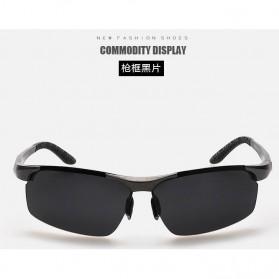Aoron Kacamata Hitam Polarized Magnesium Sunglasses untuk Pria & Wanita - 2102 - Black/Black - 5
