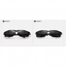 Aoron Kacamata Hitam Polarized Magnesium Sunglasses untuk Pria & Wanita - 2102 - Black/Black - 10