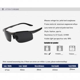 Aoron Kacamata Hitam Polarized Magnesium Sunglasses untuk Pria & Wanita - 2102 - Black/Black - 11