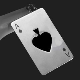 Pembuka Tutup Botol Kartu Poker Stainless Steel - RJ-A001 - Silver