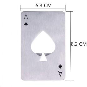 Pembuka Tutup Botol Kartu Poker Stainless Steel - RJ-A001 - Silver - 7