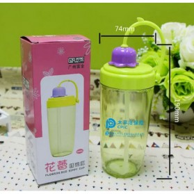 Botol Minum Flower Bud Straw 390ml - Green - 3