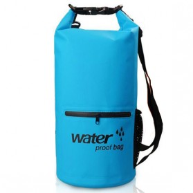 Outdoor Waterproof Bucket Dry Bag 10 Liter with Extra Pocket - OB-104 - Blue