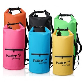 Outdoor Waterproof Bucket Dry Bag 10 Liter with Extra Pocket - OB-104 - Blue - 2