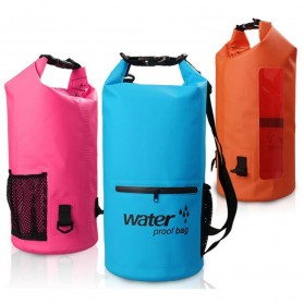 Outdoor Waterproof Bucket Dry Bag 10 Liter with Extra Pocket - OB-104 - Blue - 4