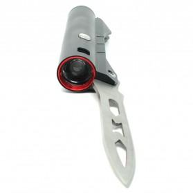Pisau Lipat Multifungsi 2 in 1 Portable Knife Survival Tool EDC with Senter LED - YF2003 - Black - 4