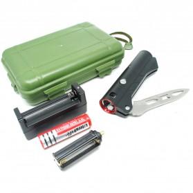 Pisau Lipat Multifungsi 2 in 1 Portable Knife Survival Tool EDC with Senter LED - YF2003 - Black - 7