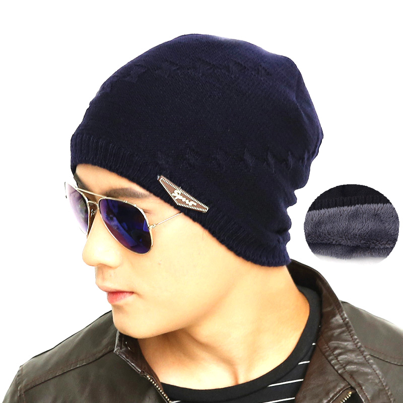 Topi Kupluk Rajut Wool Velvet Musim Dingin - Black - JakartaNotebook.com a253d16fbb
