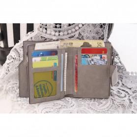 Dexbxuli Dompet Wanita Zipper Wallet Solid Vintage Matte - SX007-2 - Black - 2