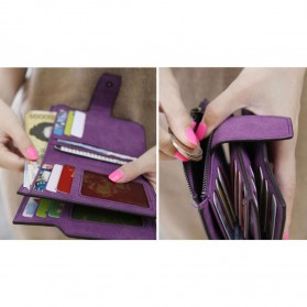 Dexbxuli Dompet Wanita Zipper Wallet Solid Vintage Matte - SX007-2 - Black - 3
